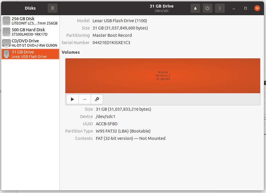 Screenshot of Disk Utility Format