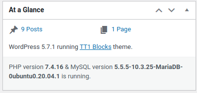Screen shot showing PHP 7.4 is running.